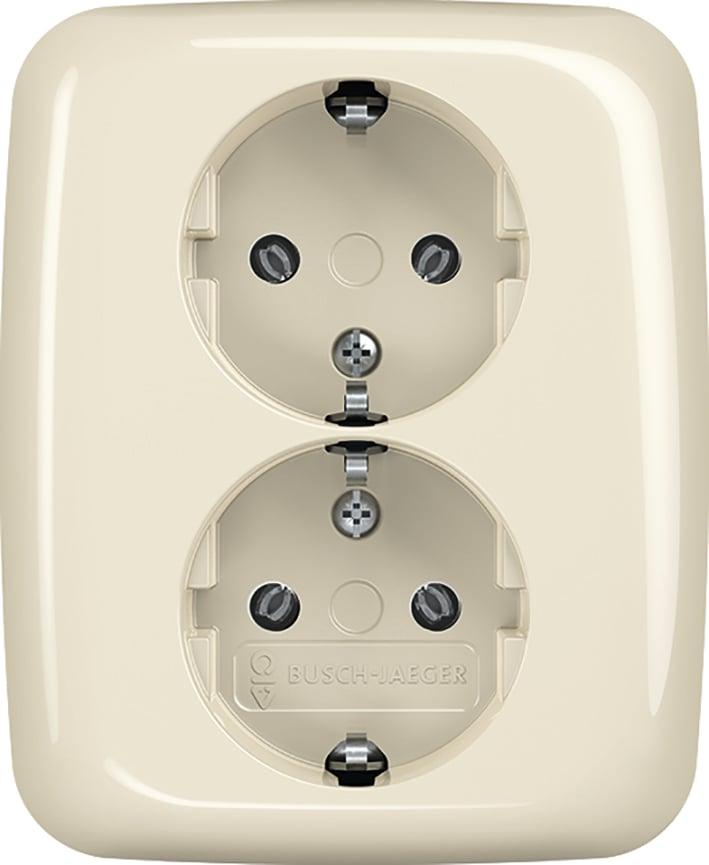 ABB Busch-Jaeger Reflex SI Linear tweevoudige wandcontactdoos met randaarde - crème wit (202 EUJR-212)