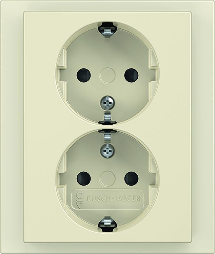 ABB Busch-Jaeger future linear wandcontactdoos inbouw met randaarde 2-voudig - ivoorwit (2TKA00003886)