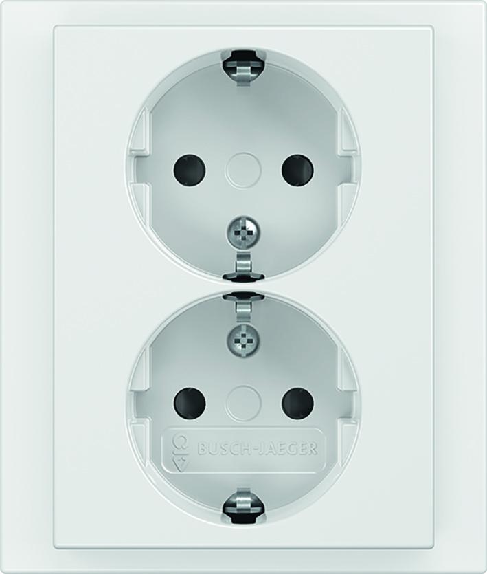 ABB Busch-Jaeger stopcontact inbouw met randaarde en kinderbeveiliging 2-voudig - studiowit (2TKA00003890)