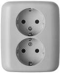 Busch-Jaeger stopcontact inbouw 2-voudig met randaarde - SI crème (20-02 EUJR-212-503)