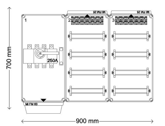 Verdeelinrichting 250A 96(2x48) modules