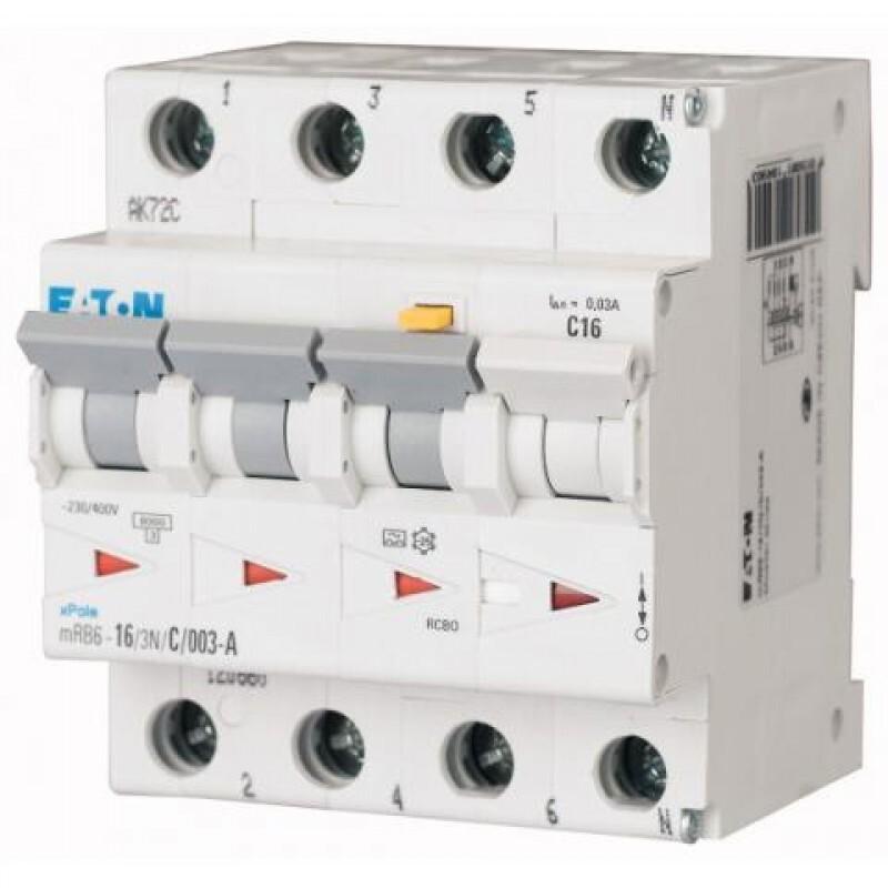 Eaton kracht-aardlekautomaat 3P+N 16A B-karakteristiek