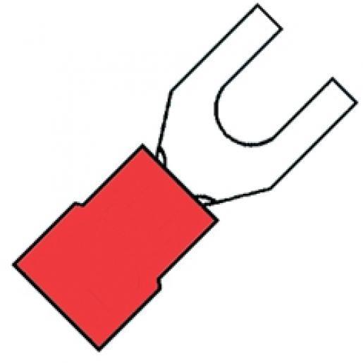 KLEMKO geïsoleerde vorkkabelschoen M5 voor 0,5-1,5 mm² PVC - rood per 100 stuks (100290)