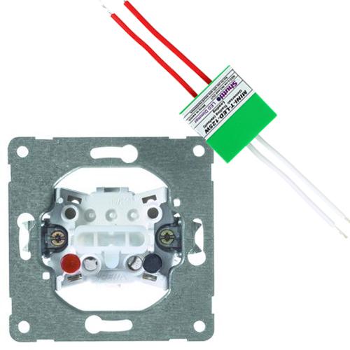 PEHA set plusdrukker + shuttle dimmer LED/halogeen 125W (2700136868-125W)
