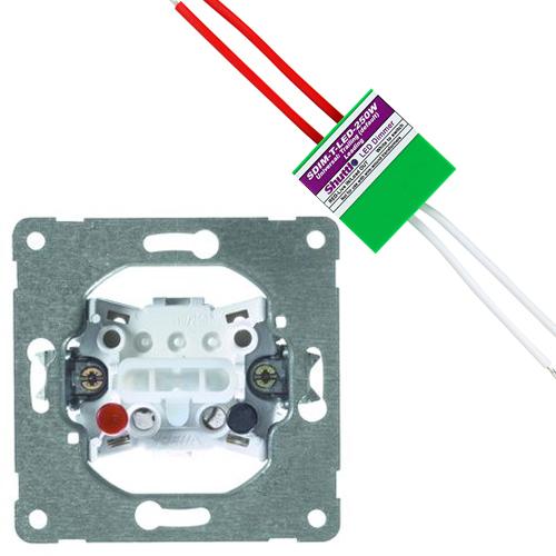PEHA set plusdrukker + shuttle dimmer LED/halogeen 250W (2700136868-250W)