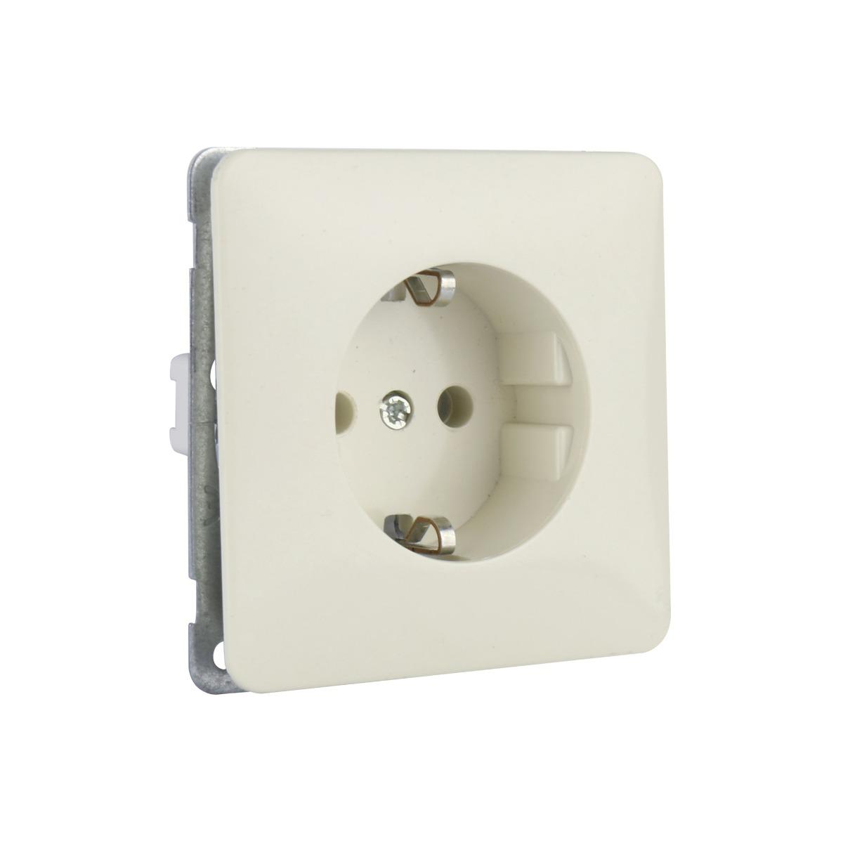 PEHA stopcontact kinderbeveiliging met randaarde - standaard crème wit (H 80.6511 SI W)