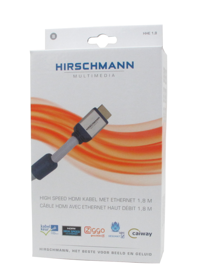 Hirschmann Multimedia HDMI kabel grijs met ethernet met kabelkeur 1,8 meter (695020368)