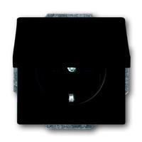 Busch-Jaeger wandcontactdoos inbouw met klapdeksel en randaarde 1-voudig - future linear zwart mat (20 EUK-885)
