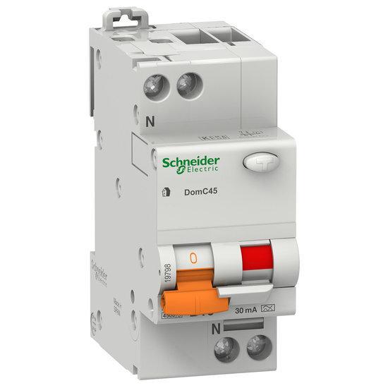 SCHNEIDER aardlekautomaat 16 ampere 1-polig + nul B-karakteristiek 30 mA