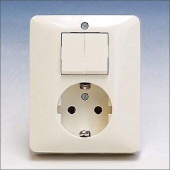 PEHA combinatie serieschakelaar en stopcontact met randaarde - standaard crème wit (H 80.6685 W)