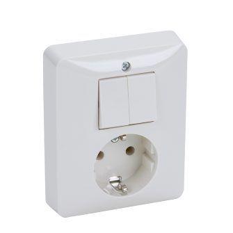 PEHA combinatie serieschakelaar en stopcontact met randaarde - standaard alpin wit (H 80.6685.02)
