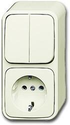 ABB Busch-Jaeger Opbouw AP Plus combinatie wandcontactdoos met randaarde + serieschakelaar - crème wit (2601/5/2300 EAP500)