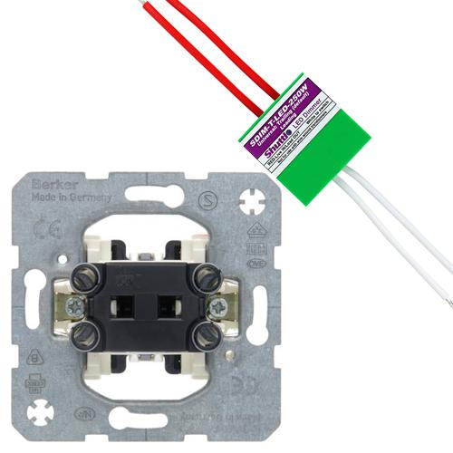 Hager Berker set impulsdrukker + shuttle dimmer LED/halogeen 250W (2700497914-250W)