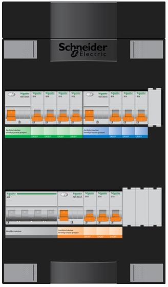 Schneider Electric groepenkast 11 groepen 220x380 (BxH) 1 fase