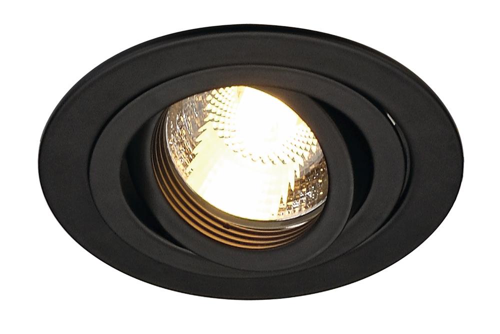 SLV inbouwspot rond kantelbaar zwart Ø93mm (113490)
