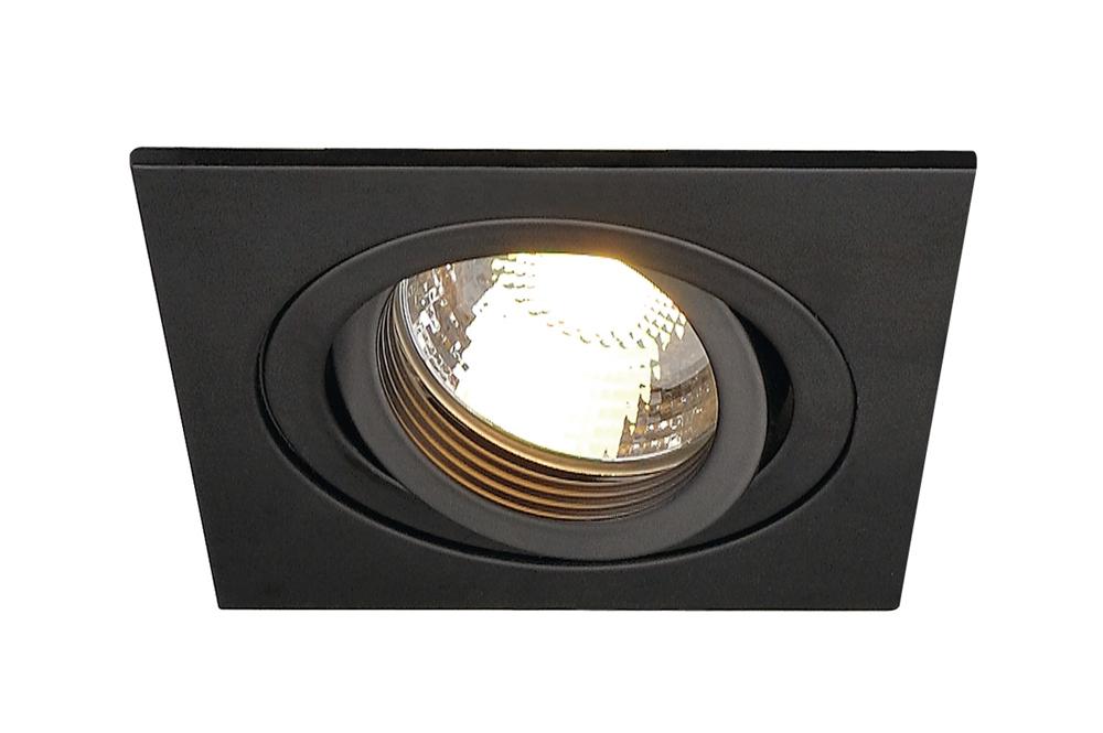 SLV inbouwspot vierkant kantelbaar zwart 90x90mm (113491)