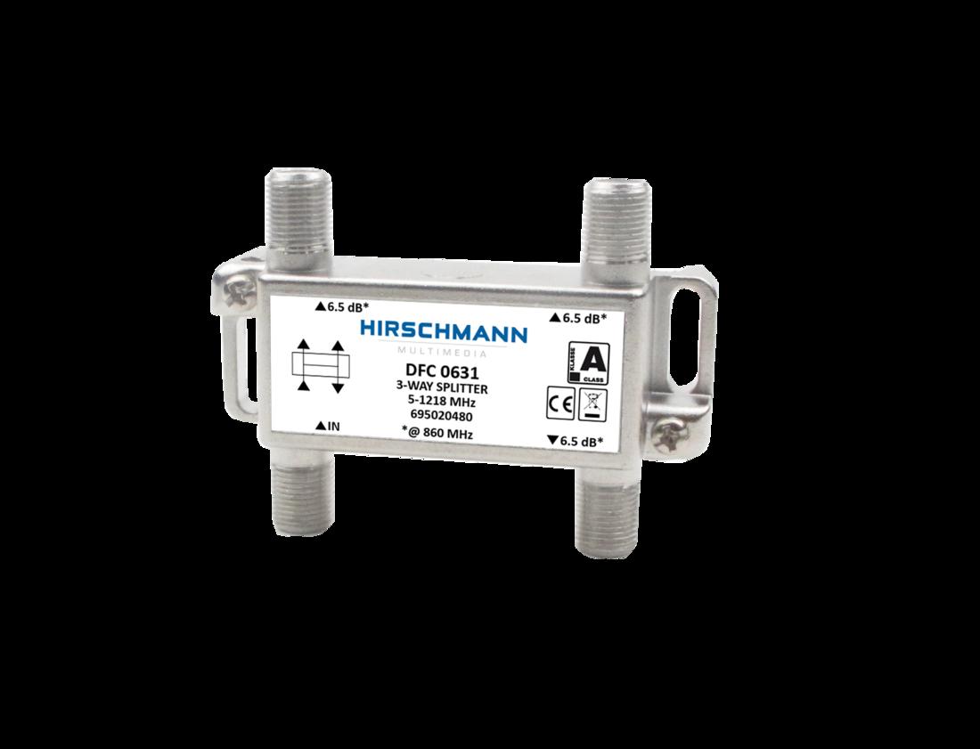 Hirschmann Multimedia DFC 0631 drieverdeler 6 dB geschikt tot 1,2 GHz retourgeschikt