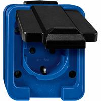 Schneider-Merten Slagvast 1-voudig wandcontactdoos met aardpen - blauw (289378)
