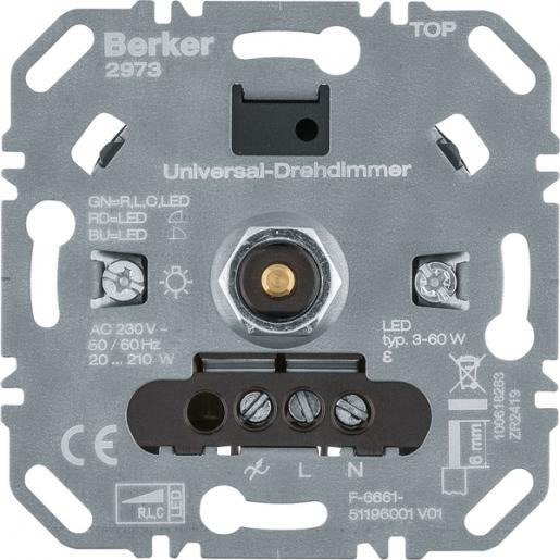 Hager Berker draaidimmer inbouw universeel (LED, R, L, C) met soft-klik (2973)