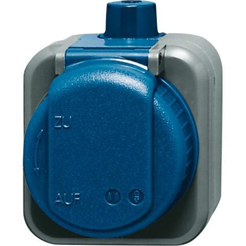 Busch-Jaeger wandcontactdoos opbouw IP66 met randaarde 1-voudig - Busch-duro 2000 blauw (2083-0-0343)