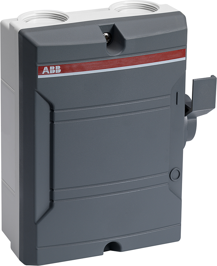 ABB werkschakelaar 2P 25A donker grijze behuizing kabelinvoer BW225DP