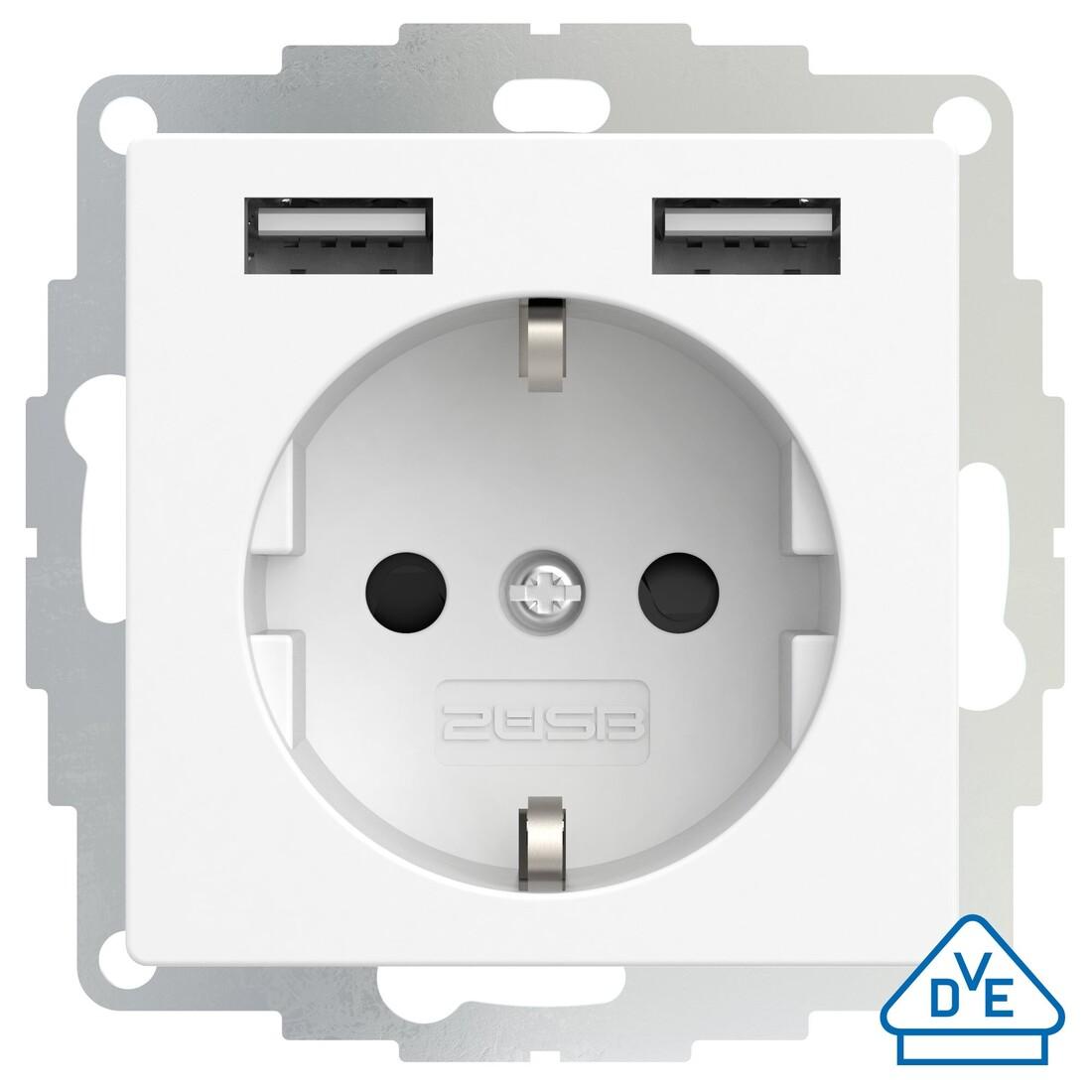 2USB 2USB inCharge PRO universeel 55x55 WCD met 2x USB 2,4A - wit mat (2U-449214)