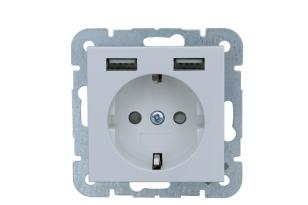 Universeel stopcontact met twee USB wit 55x55 mm