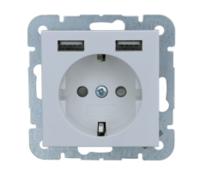 universeel stopcontact 55x55 mm met twee USB - wit mat (449337)