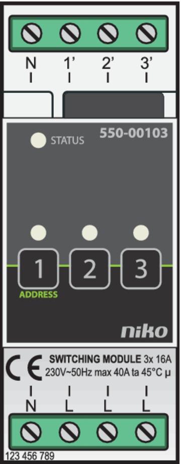 Niko Home Control - Schakelmodule 3-voudig Opbouw  550-00103