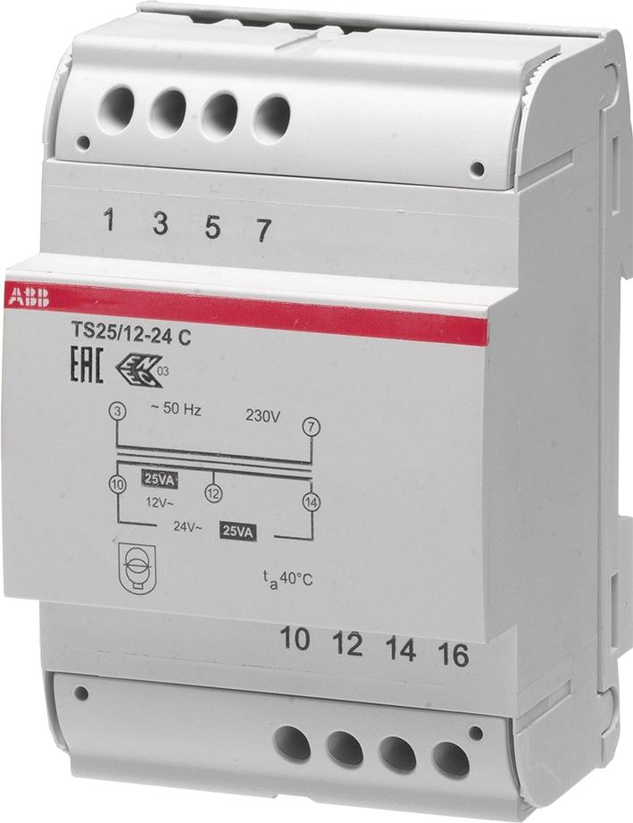 ABB Systeemcomponenten beltrafo 25VA 4 M TS 25/12-24C t.b.v. Ring deurbel en Nest Hello systemen