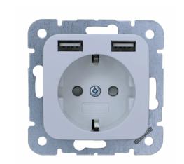 Universeel stopcontact met twee USB wit 54x54 mm