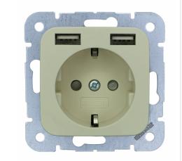 2USB Universeel stopcontact met twee USB creme 54x54 mm