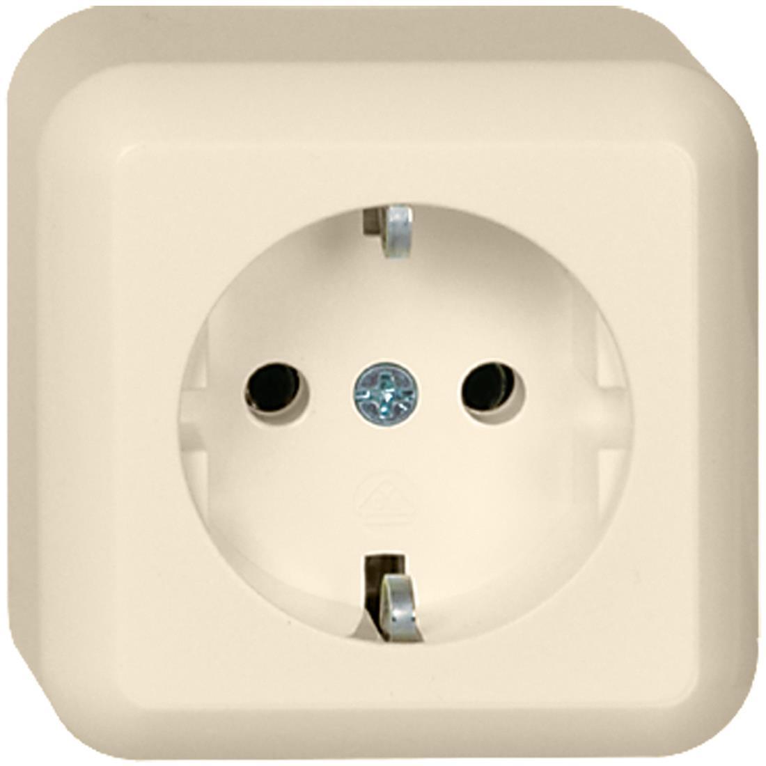 Schneider Electric Contura opbouw enkelvoudige wandcontactdoos met randaarde 16A 250V - crème wit (385000)