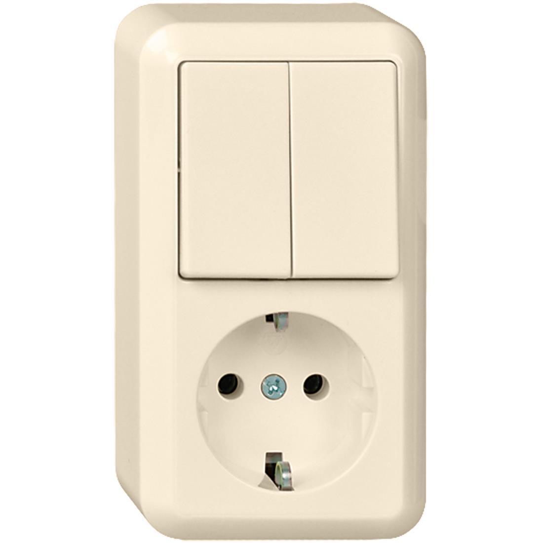 Schneider Electric Contura opbouw combinatie enkelvoudige wandcontactdoos met randaarde + serieschakelaar - crème wit (388500)