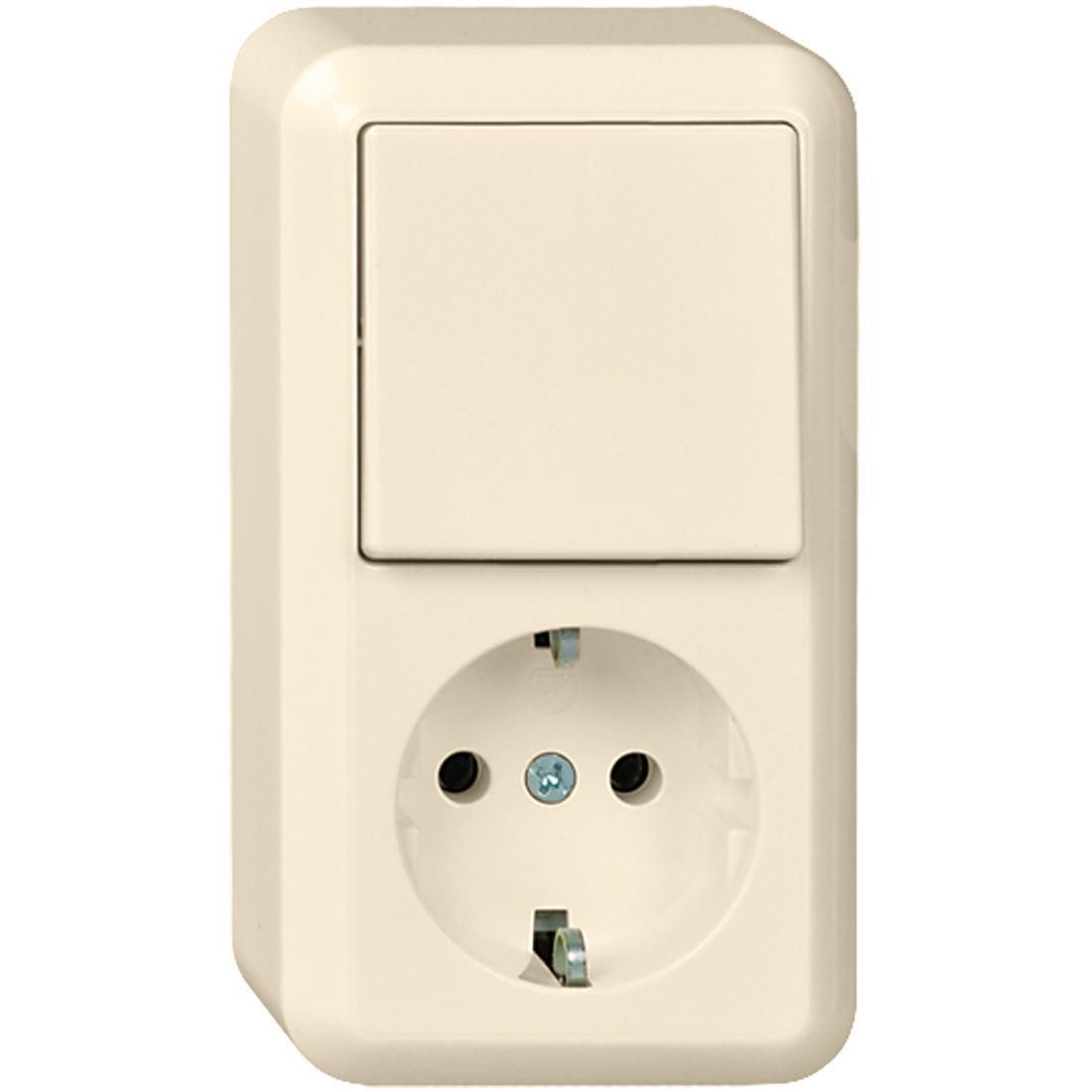 Schneider Electric Contura opbouw combinatie enkelvoudige wandcontactdoos met randaarde + wisselschakelaar - crème wit (388600)