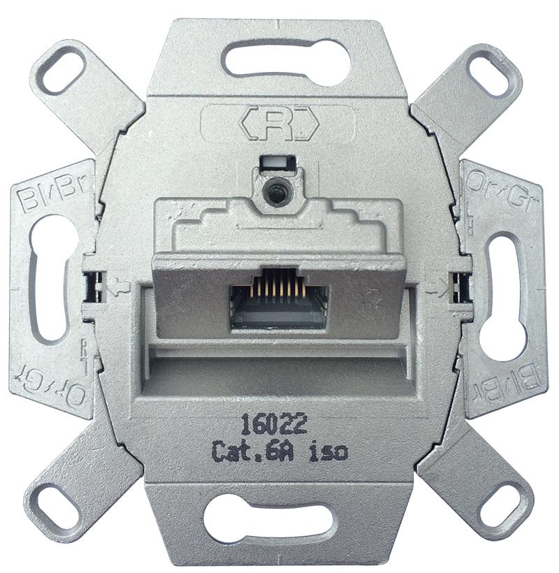 Universele wandcontactdoos inbouw basiselement UTP 1-voudig Cat6A (39070)