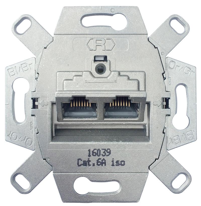 Universele wandcontactdoos inbouw basiselement UTP 2-voudig Cat6A (39071)