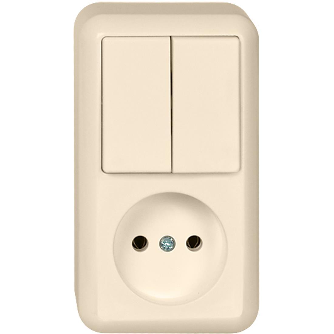 Schneider Electric Contura opbouw combinatie enkelvoudige wandcontactdoos zonder randaarde + serieschakelaar - crème wit (399500)
