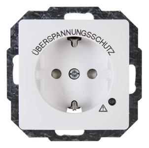 Kopp HK05 stopcontact inbouw met randaarde kinderbeveiliging en overspanningsbeveiliging 1-voudig wit per 2