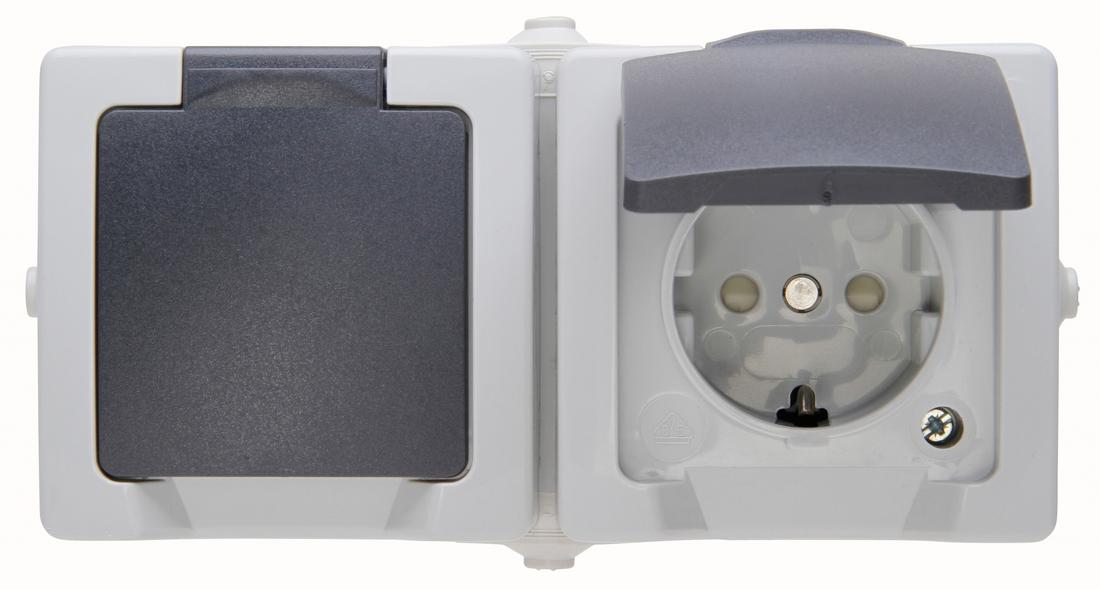 Kopp NAUTIC stopcontact 2 voudig horizontaal ip44 2-polig met randaarde en klapdeksel opbouw grijs