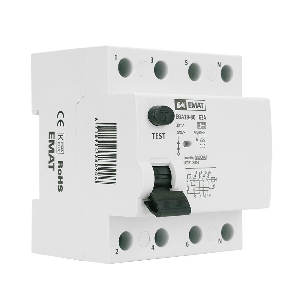 EMAT aardlekschakelaar 4-polig 63A 30mA type A (EMATAS4P6330)
