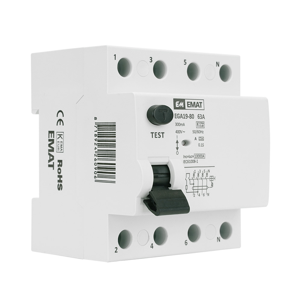 EMAT aardlekschakelaar 4-polig 63A 300mA (EMATAS4P63300)