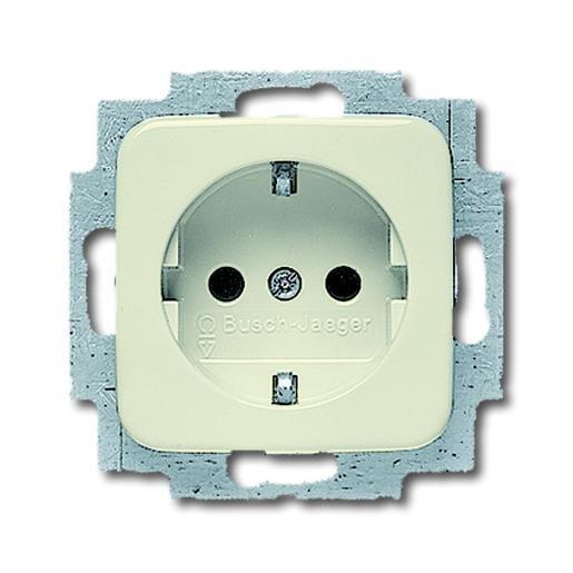 ABB Busch-Jaeger inbouw stopcontact met randaarde 1-voudig - SI crème (20 EUC-212-503)
