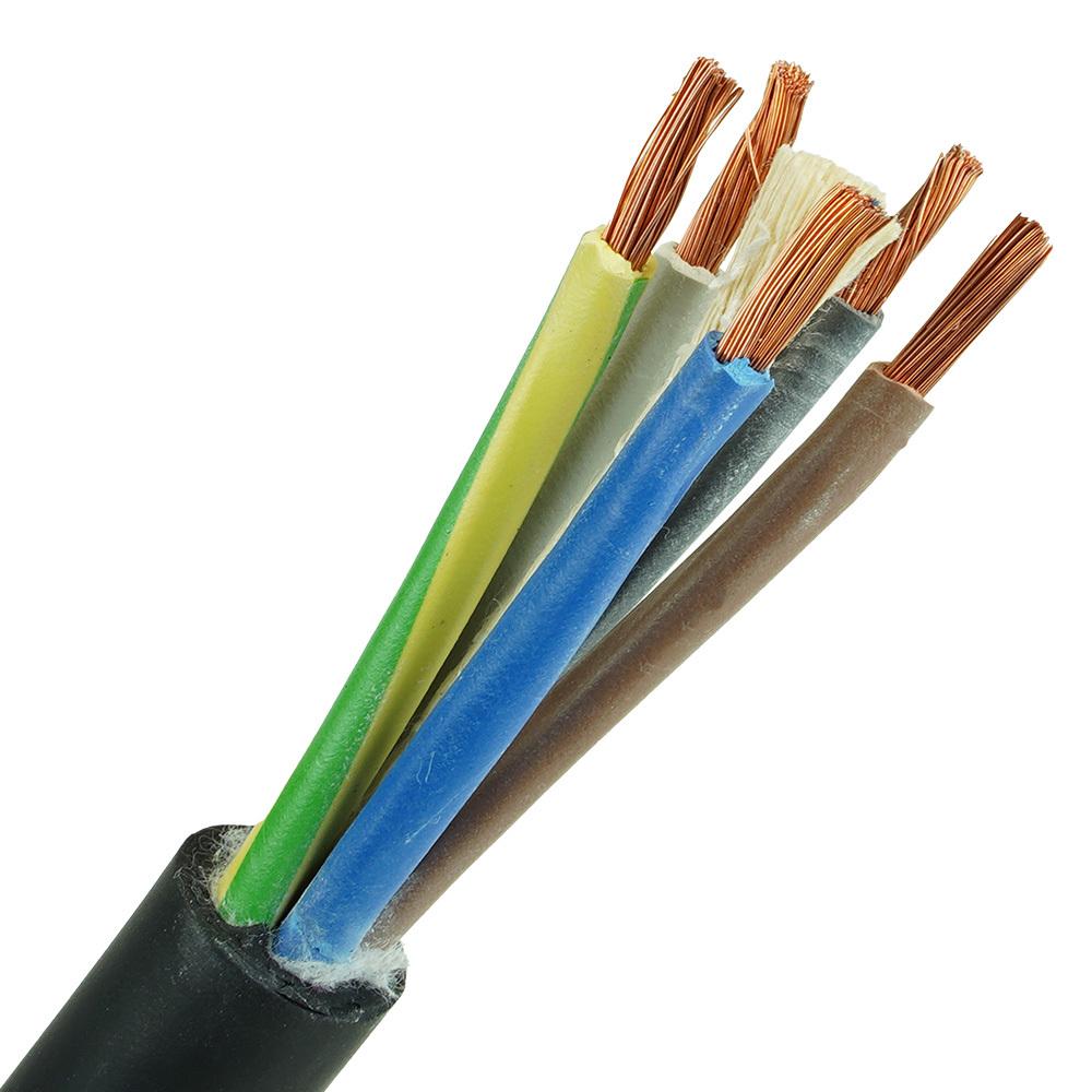 Neopreen kabel H07RNF 5x6mm per 1 meter