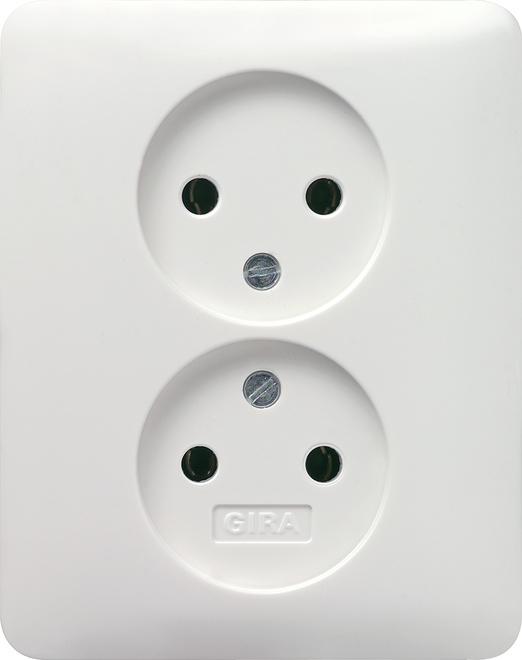 Gira stopcontact met vaste centraalplaat en steeklemmen zonder randaarde 2-voudig - standaard 55 zuiver wit mat (079804)