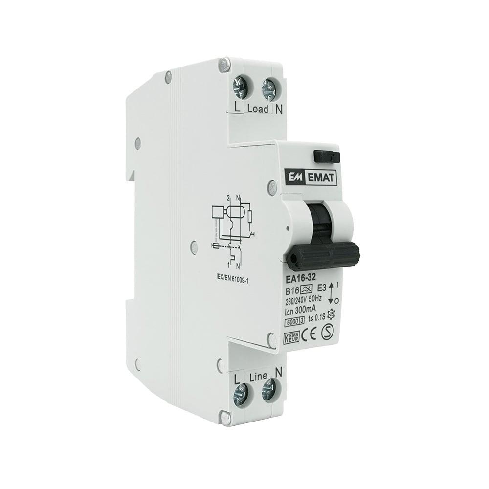 EMAT aardlekautomaat 1-polig+nul 16A B-kar 300mA