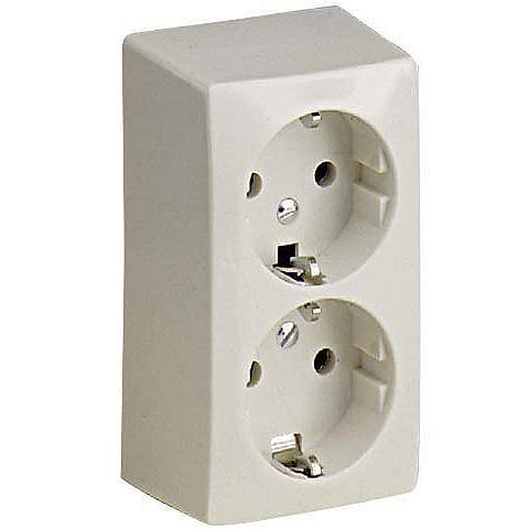 ABL wandcontactdoos randgeaard 2-voudig elektrowit