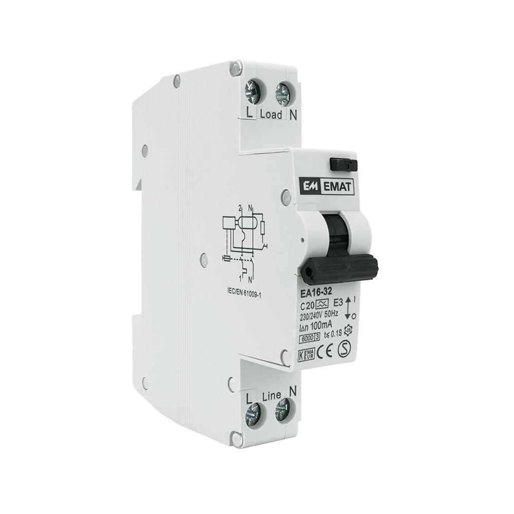 EMAT aardlekautomaat 1-polig+nul 20A C-kar 100mA