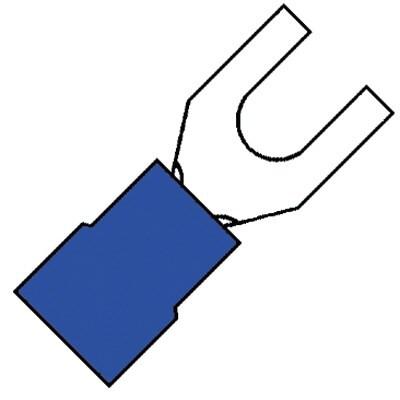 KLEMKO geïsoleerde vorkkabelschoen M5 voor 1,5-2,5 mm2 PVC - blauw per 100 stuks (100700)