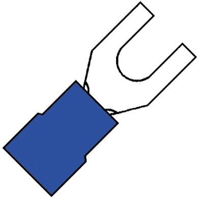 KLEMKO geïsoleerde vorkkabelschoen M3 voor 1,5-2,5 mm2 PVC - blauw per 100 stuks (100600)
